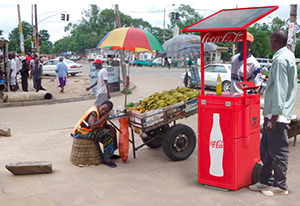 Coke solar powered kiosk (credit Barrows Retail Marketing)