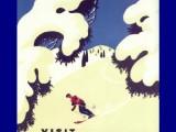 "Old travel ski ads provided inspiration for ""Northern Noel"""
