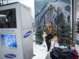 Customers pose in the Samsung-sponsored ski lift photo booth