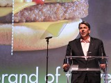 McDonald's Canada CMO Joel Yashinsky collects a BOY prize.