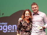 Megan Towers, strategic planner, and Chris Hirsch, CD at John St. accept the award for best agency video of the night.