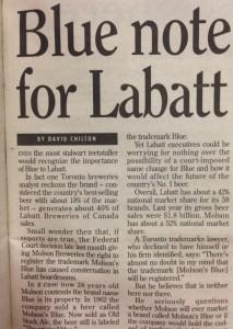 Blue note for Labatt