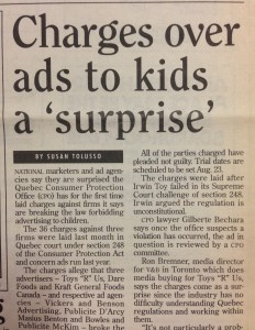 Charges over ads to kids a surprise