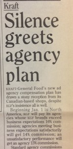 Kraft silence greets agency plan