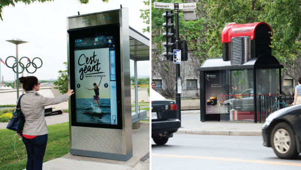 Recent examples of increased interactivity include this coffee stop – Nespresso and Marketel created espresso machines out of Quebecor transit shelters for the VertuoLine launch; a campaign executed by Quebecor for ATR, Association of Tourism of Saguenay, morphed from static posters to interactive digital boards activated by motion sensors to deliver new creative. The information could be transferred to a mobile device via a QR code or NFC.