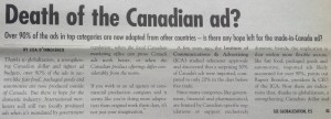 Death of Canadian ad