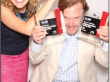 Whitney Gibson from Mosaic and Michael Mills from Studio M celebrate their WestJet wins.