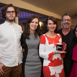 Cossette's Louis Ray and Nadja Décarie, Perfetti Van Melle's Laurence Pichon, and Cossette's Thomas Nelligan and Léa Racioppi.