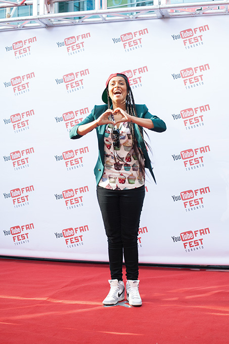 YouTuber Lilly Singh gave fans some love on the red carpet at Google's YouTube FanFest in Toronto.