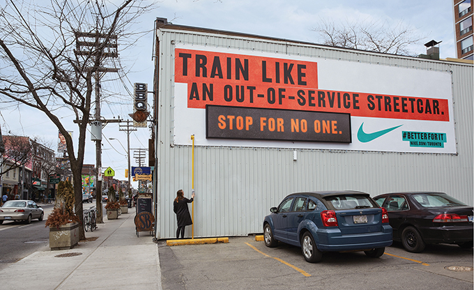 To help Nike reach young, urban women, Jungle Media teamed up with Lg2 Toronto to place contextual messages in high-impact areas around the city.