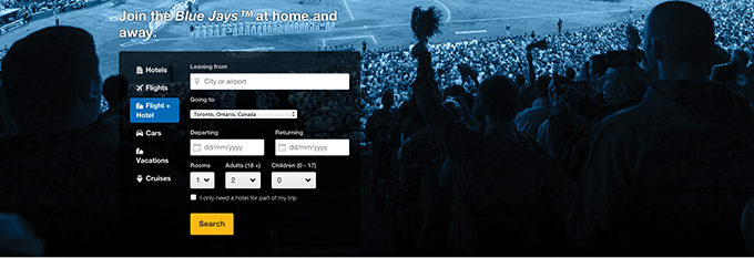 A portal for Expedia helped fans follow the Blue Jays on the road with comprehensive travel packages.