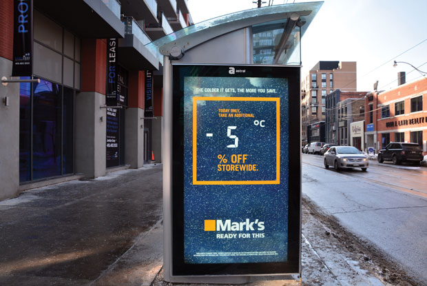 Astral and Mark's (and its French version Equipeur) brought this Carte Blanche winning campaign to life across Canada. Tapping into weather data, the transit ads offered discounts based on the temperature drop – the colder it got, the more people saved.