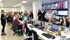 The new state-of-the-art newsroom allows the shop to monitor and track multiple social campaigns at once.
