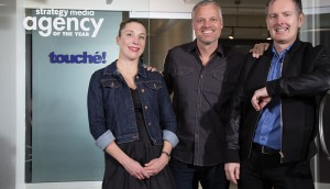 From left to right: Karine Courtemanche, president Jeff Berry, Managing Director, Touché Toronto Alain Desormiers, CEO and founder.