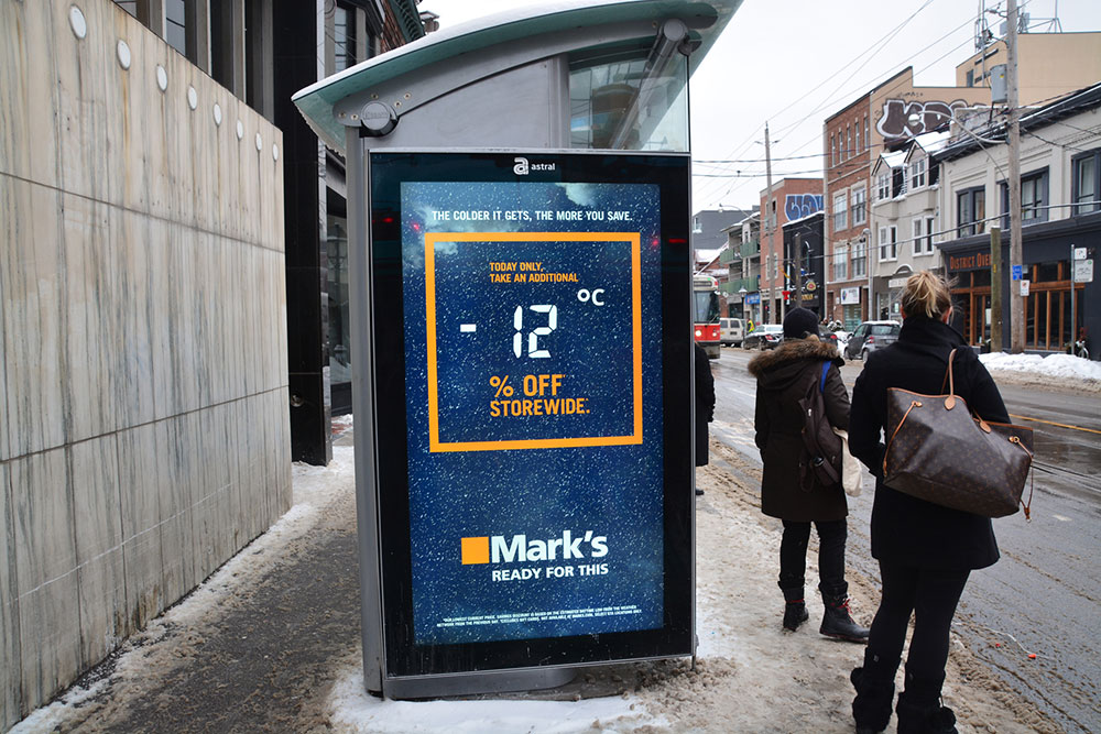 The big idea was to promote in-store discounts linked to the day's temperature using real-time weather feeds. The store discount of the day, which matched the exact outside temperature of each market, was displayed on billboards, social media, and programmatic buys.