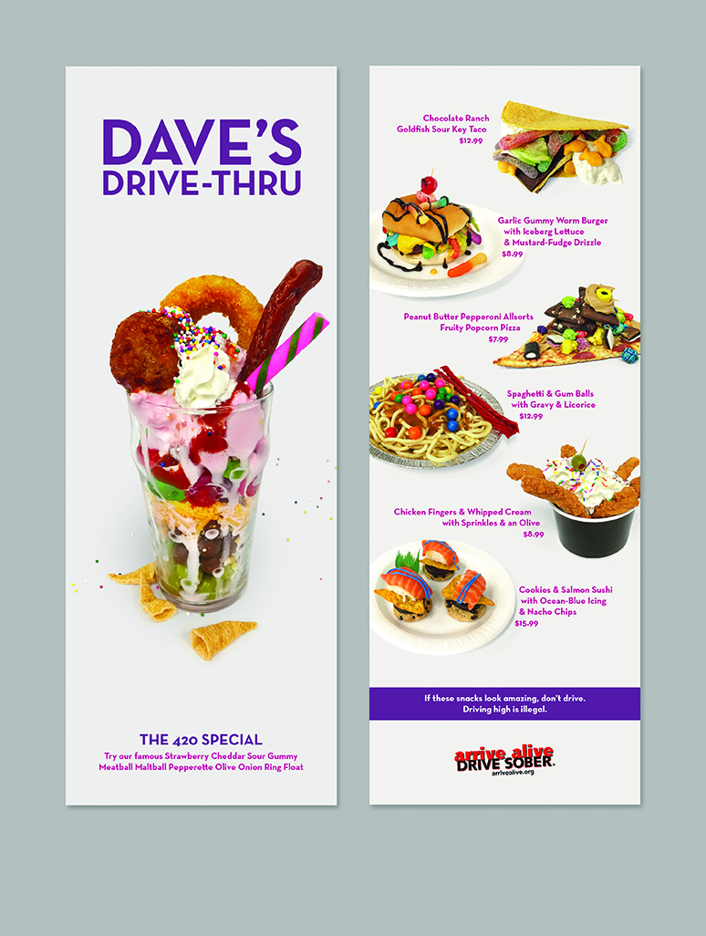 Driving High Menu front and back