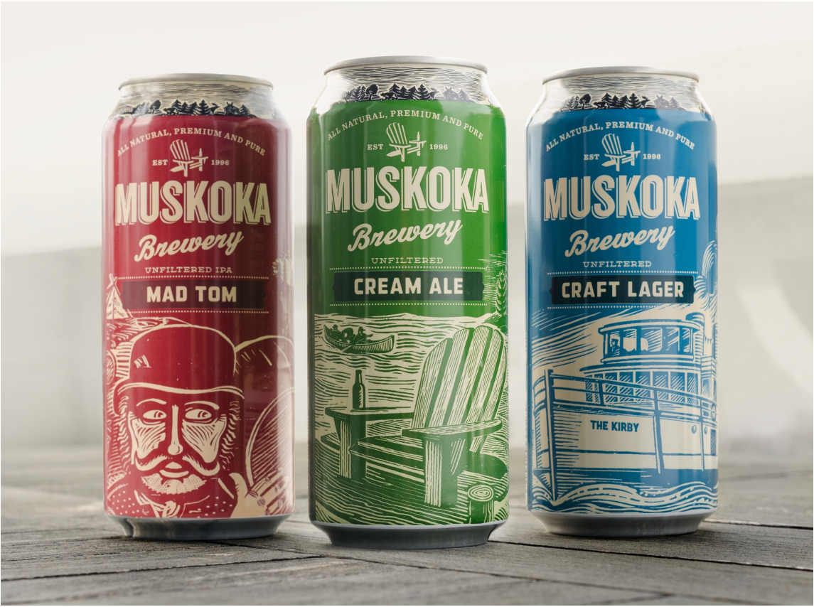 123w refurbished the branding for 21-year-old Muskoka Brewery from top-tobottom including all packaging and POS material.