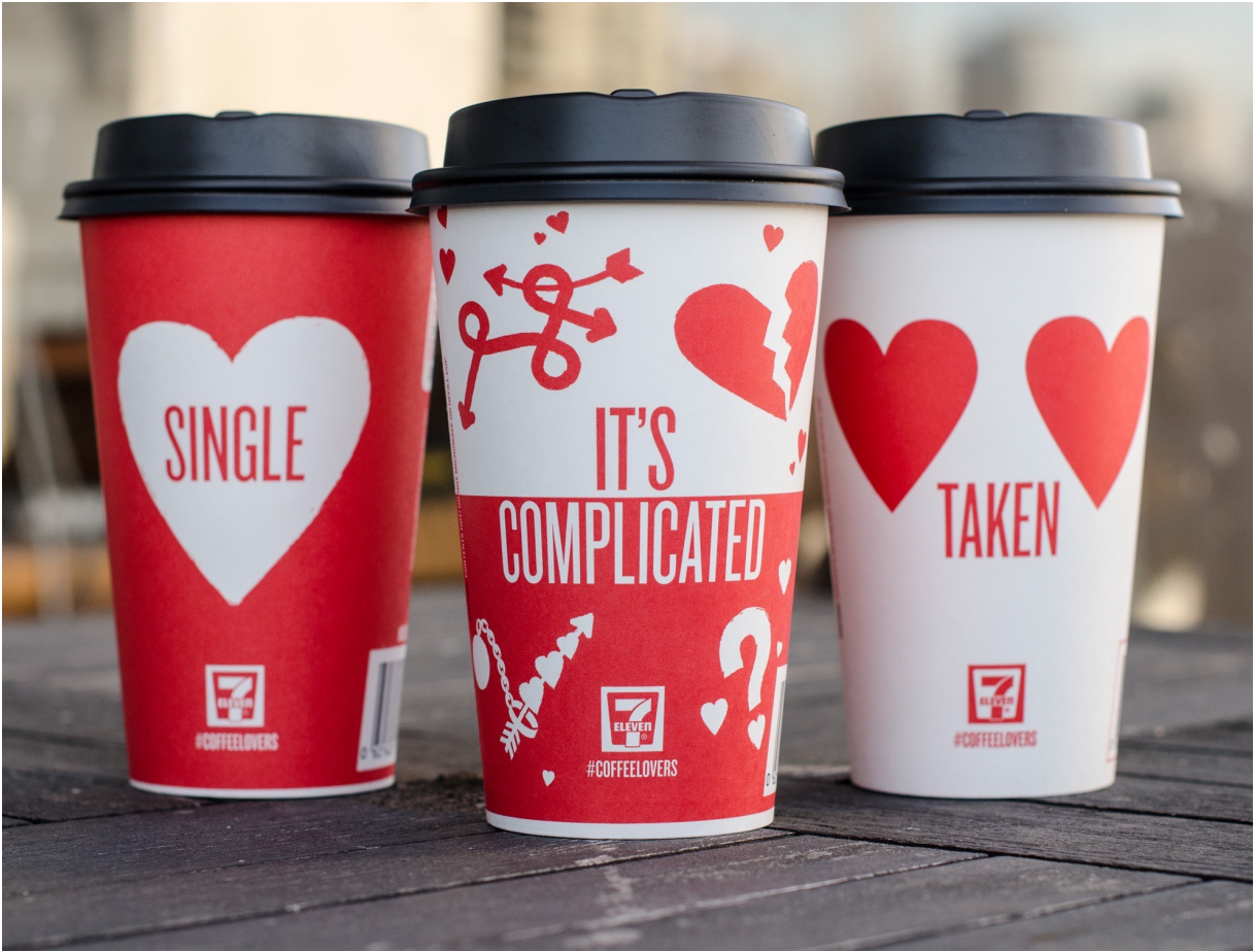 For Valentine's Day, 123w designed a series of coffee cups for 7-Eleven. 'Single, Taken and It's Complicated' cups were a huge hit on social media with people sharing photos of personalized cups using the hashtag #coffeelovers.