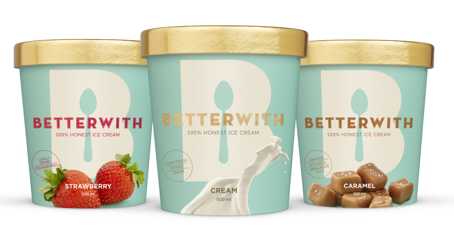 123w created a tasteful look that complements the premium quality of Betterwith Ice Cream. All packaging, POS and collateral received the same treatment.