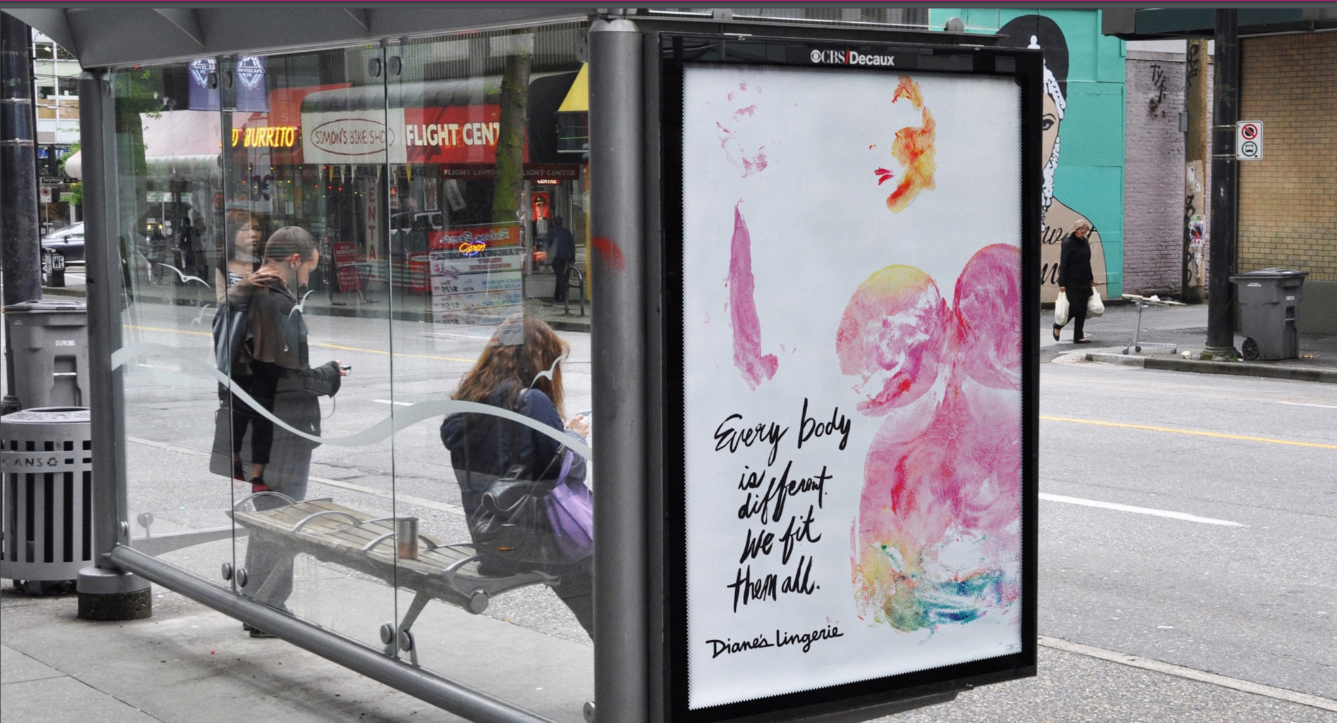 For Diane's Lingerie, 123w created the body-print campaign using body paint to turn participants' bodies into works of art. The art was used in print, transit shelter and instore ads as well as CRM and shopping bags. It also spawned a gallery show called 'Art of a Woman'.