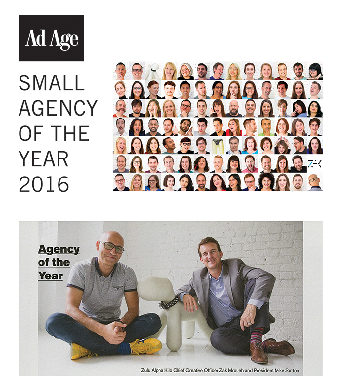 In 2016, the agency marked a major milestone after being the first non-U.S. shop to win AdAge Small Agency of the Year, giving Zulu bragging rights as the world's top ranked independent.