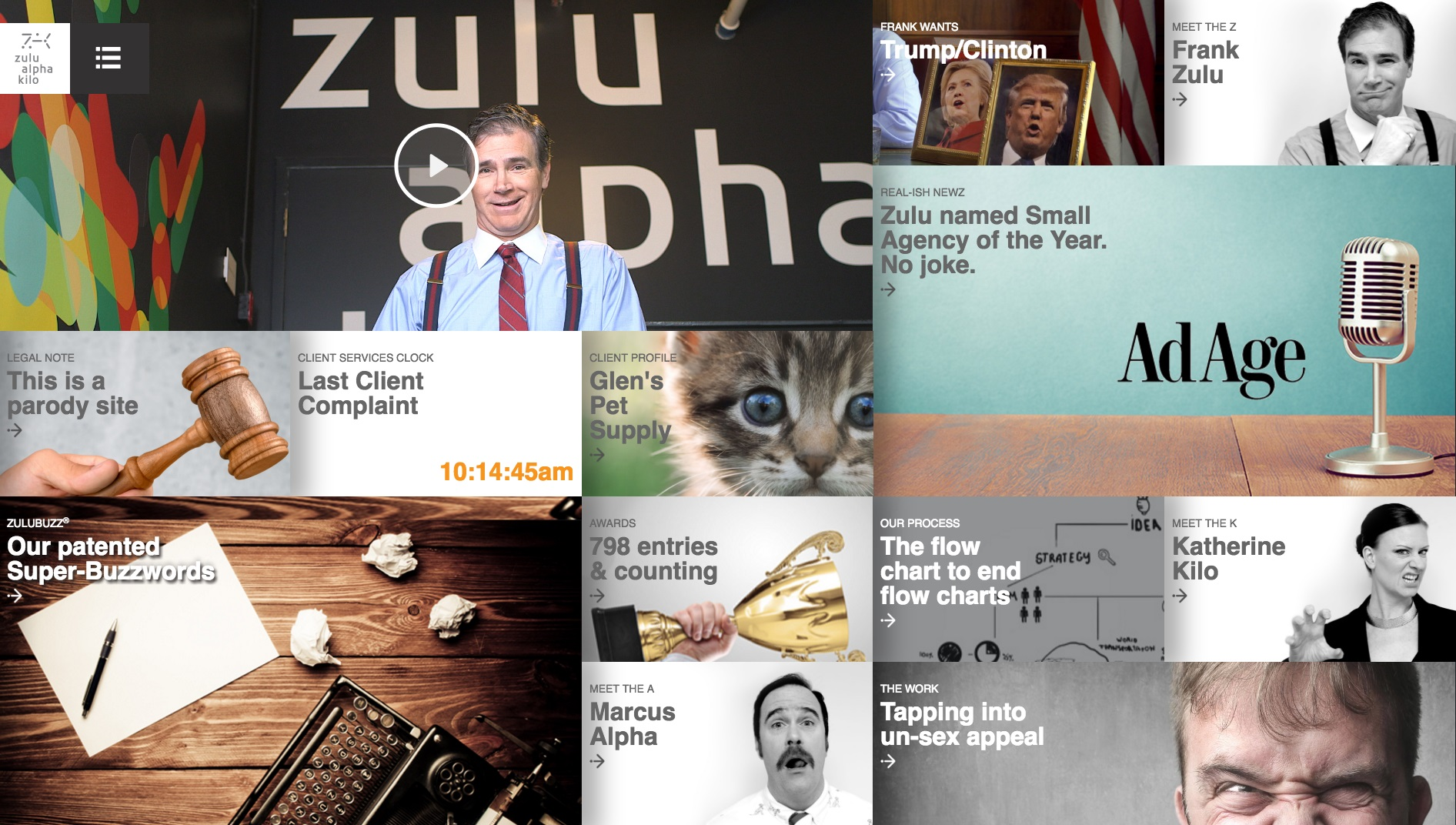 Zulu mocks the sameness of agency websites with a fun sendup of industry clichés complete with fictional co-founders. It was voted one of the top ten agency sites in the world.