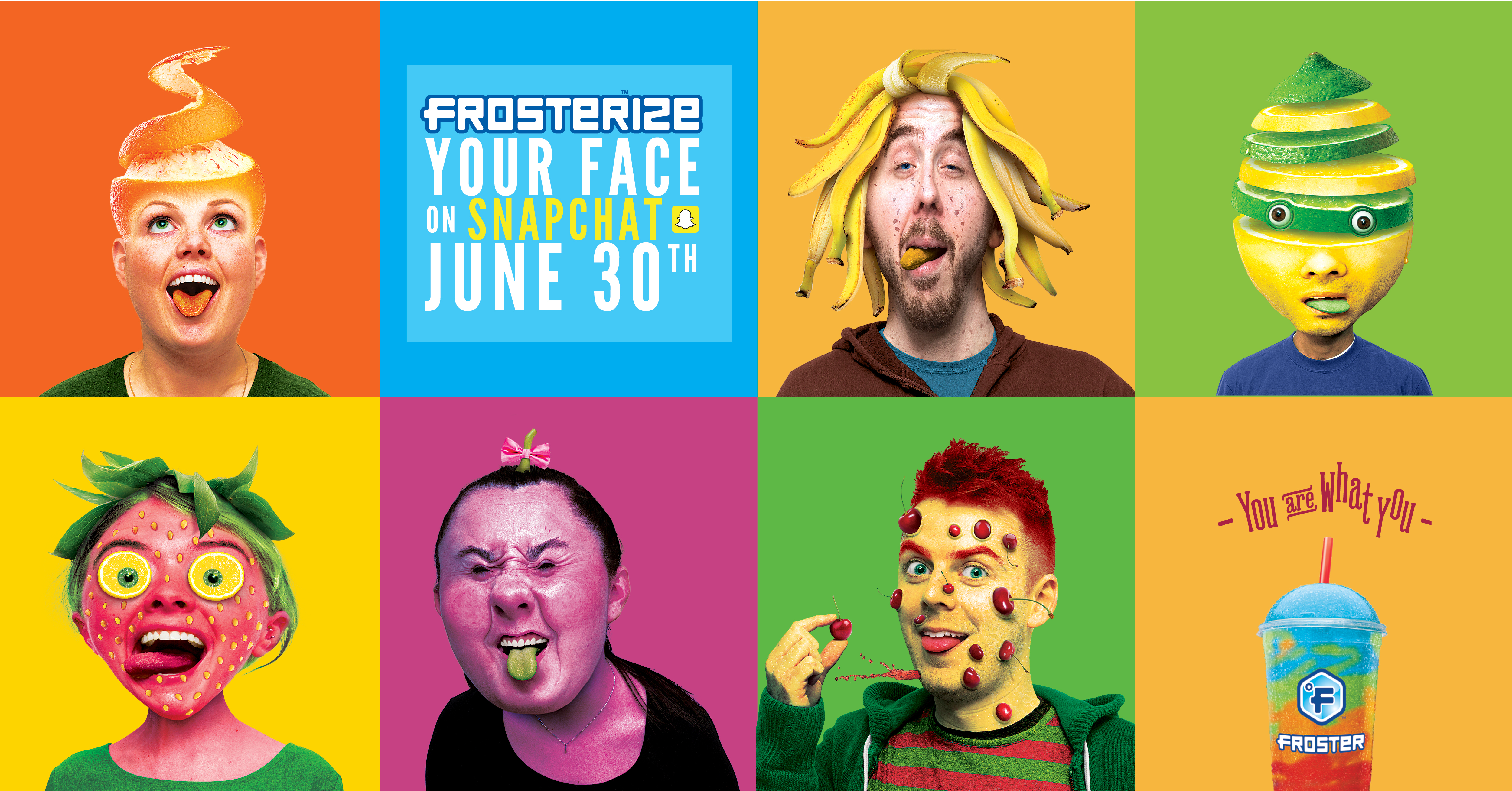 """This campaign targeted 17-year-olds to create awareness of Mac's Froster frosty drink with the shareable """"Frosterize your face on Snapchat"""" campaign. The agency characterized the flavours on posters and gave users the ability to transform their faces into flavours on Snapchat."""