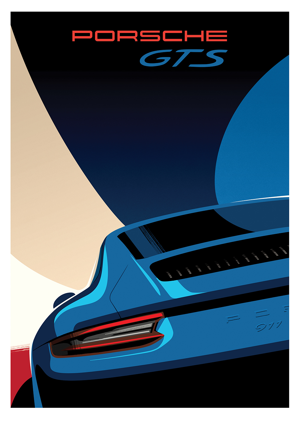 """Porsche's """"Vintage Meets Modern"""" series showcases its latest models in its classic poster style."""