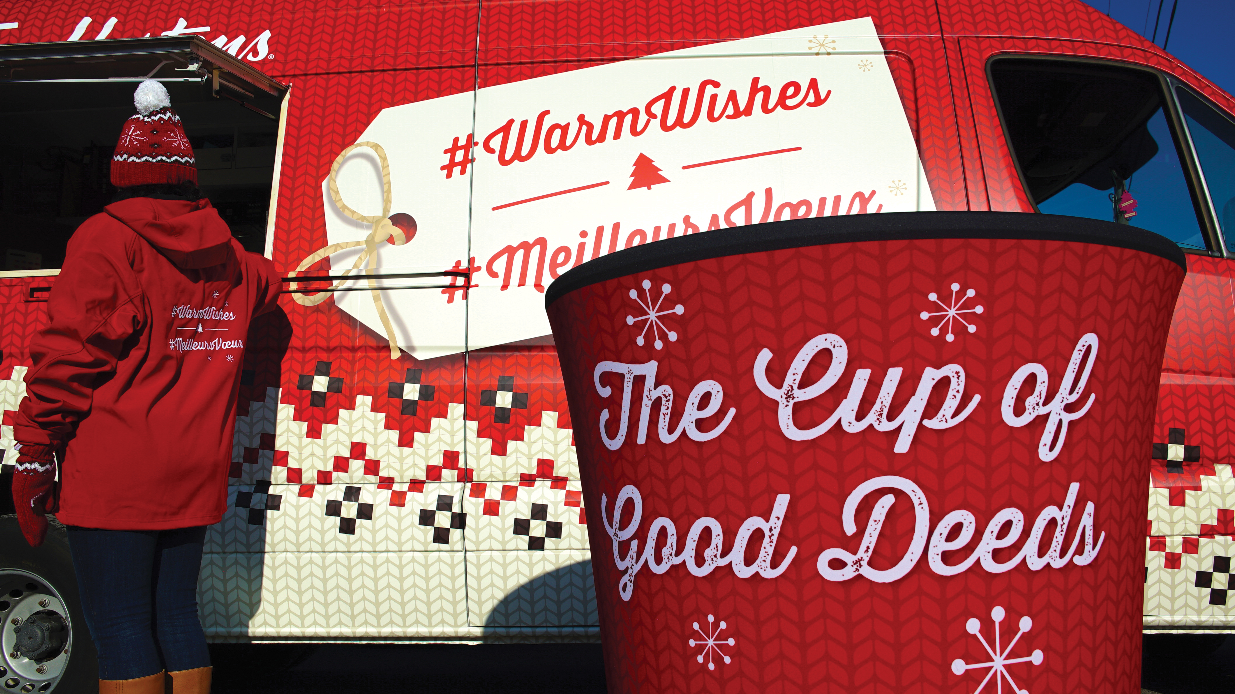 """To continue the brand's annual """"#WarmWishes"""" campaign, Citizen encouraged Canadians to pop by a """"Coffee Truck"""" set up in six Canadian cities. There, they could top off a wish for a deserving member of their community, and Timmies staffers tried to bring as many to life as possible."""