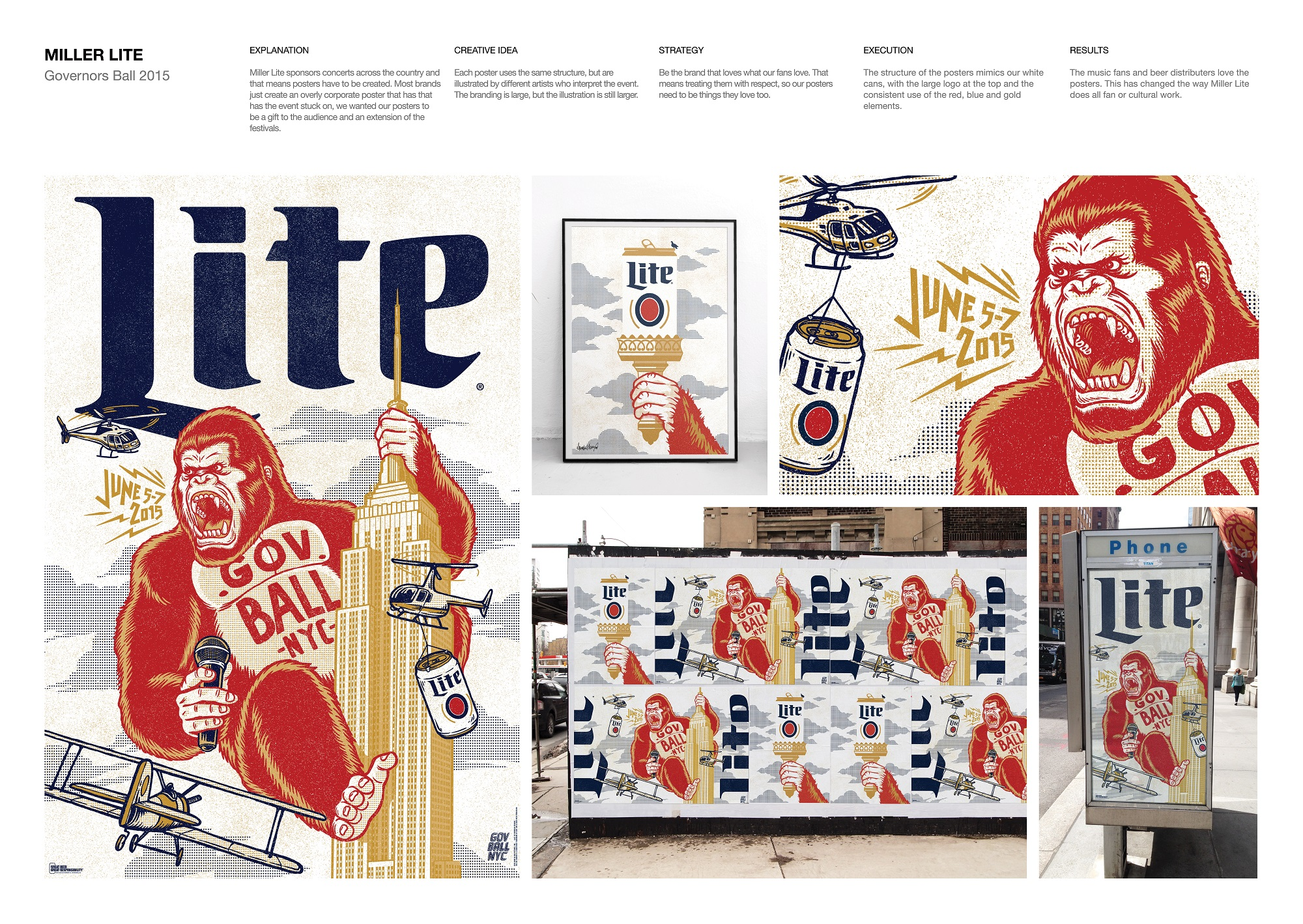 To promote Miller Lite's sponsorship of the Governors Ball, Juniper Park\TBWA created a bevy of posters featuring a King Kong-type character, tasking different artists with interpreting the event. The result was a unified, but compelling artistic approach to the annual soiree.