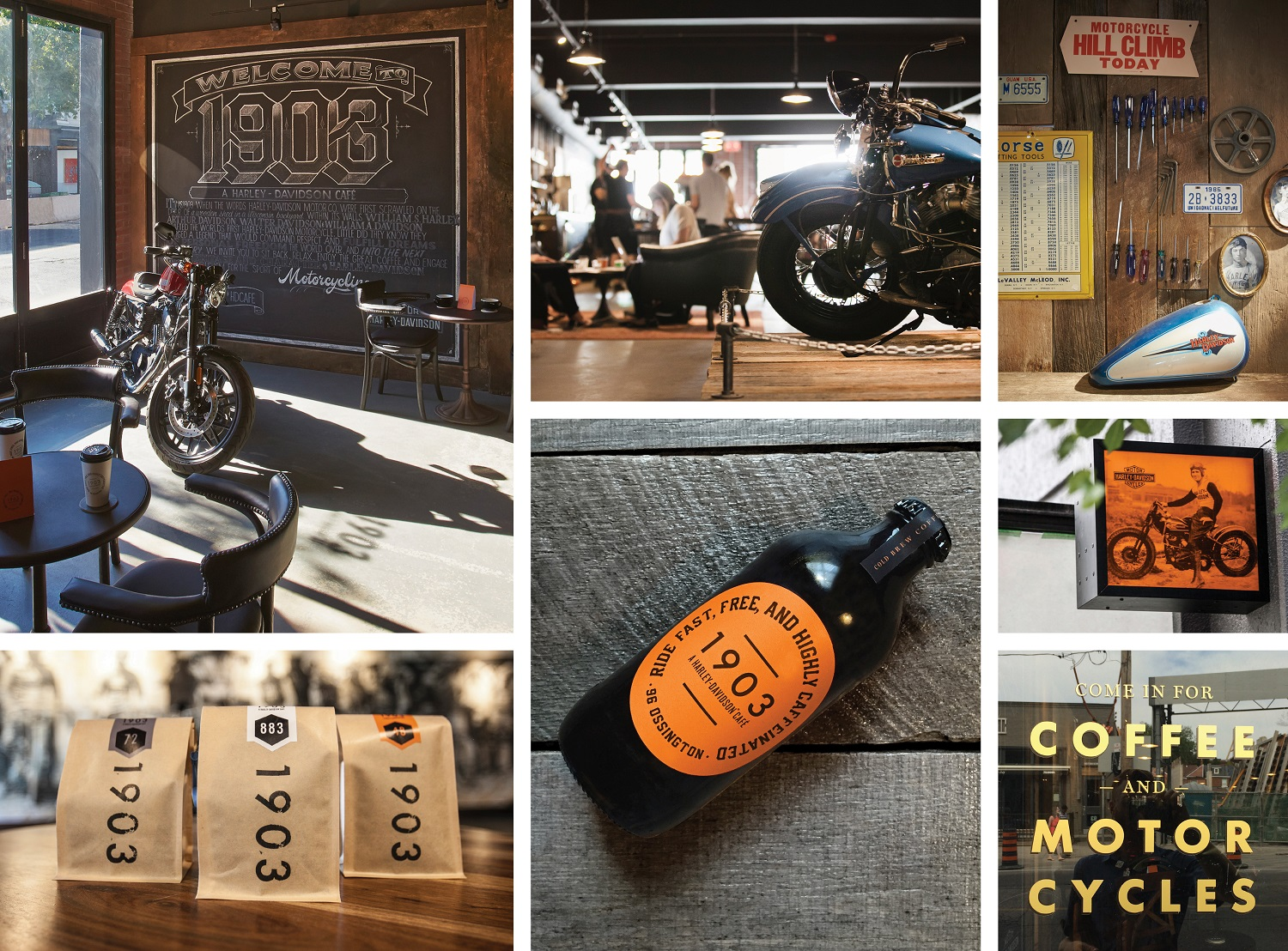 The Harley-Davidson Café showcased the agency's aesthetic and attention to detail across signage, packaging and interior design. Posters were even screen printed with a specially created coffee ink.