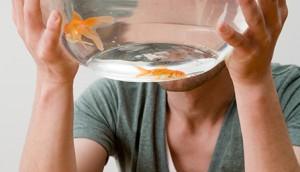 Man holding a goldfish bowl