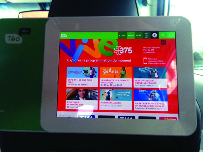 The interactive tablets inside TéoTaxis featured ongoing event updates as part of Quebecor's campaign for Montreal's 375 th anniversary.