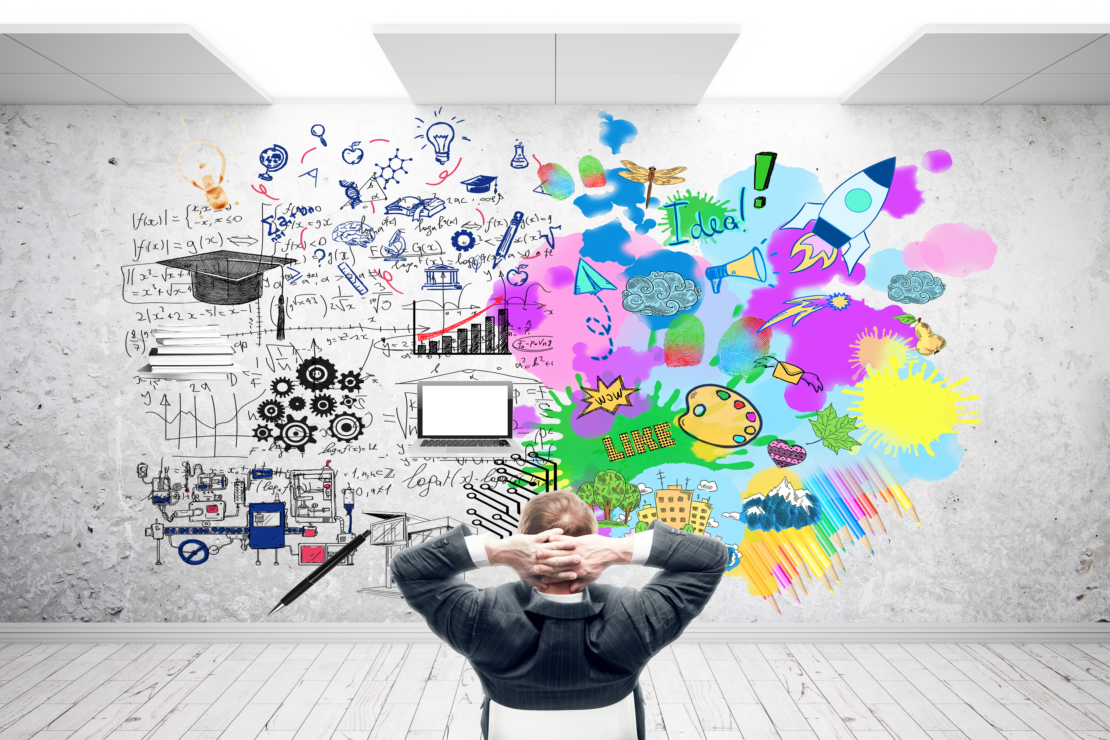 Creative and analytical thinking concept