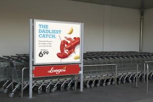 Blank billboard in a supermarket