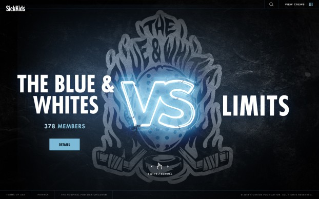 """Alongside Cossette, the studio created an interactive hub site for the latest """"SickKids VS"""" campaign to help people spread the word, allowing them to join a crew and donate."""