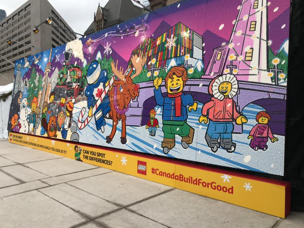 A giant Lego mural was set up at Toronto's Union Station around Christmas that passersby could help build. The objective was to get Lego bricks into the hands of adults who never played with them as children to demonstrate the creativity and fine-motor-skill benefits.