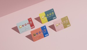 For financial brand KOHO, One Twenty Three West developed a full identity that included four card designs and custom card carriers. The unconventional identity has no set colours and can be changed daily, if needed.