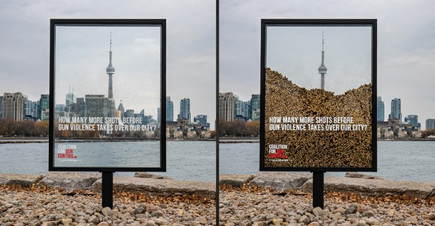 Zulu's campaign for the Coalition for Gun Control placed 10,000 bullets inside outdoor installations across the city. The integrated campaign drove to TriggerChange.ca, where Canadians could support legislation for a national handgun and assault weapon ban. It received CBC and CTV national news coverage.