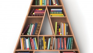 Letter A in the form of shelves with books isolated on white.