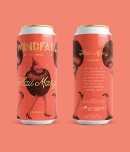 The Windfall Cider brand is all about luck and good fortune – finding your proverbial golden apple. One Twenty Three West created the brand, identity and packaging for a line of ciders including Hail Mary Rose Cider.