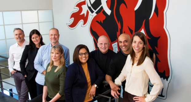 The doug&partners senior team, from left: Doug Robinson, Kristin Burnham, Matt Syberg-Olsen, Moxie Garrett, Bonnie Lall, Adam White, Brad Kumar and Caroline Kilgour.