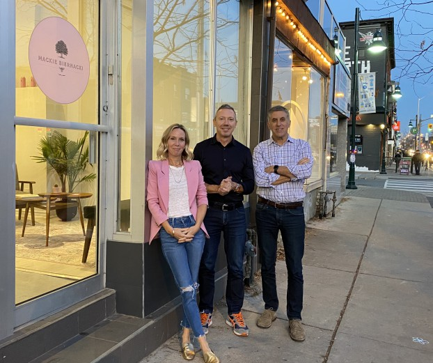 Steph Mackie, Mark Biernacki and Steve Carli getting Mackie Biernacki settled in Bloordale Village.