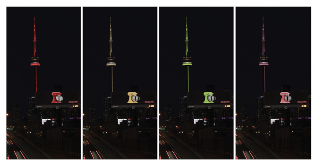 Whirlpool1KitchenAid's digital billboard detected the ever-changing colour of the CN Tower's lights in real time, converting that info to an XML feed. An algorithm then instructed the board to match the colour of the customizable stand mixer in the ad to the colour of the lights.