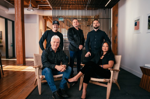 The H.U.G Collective: (front row) Derek Sewell and Josefina Nadurata, Holiday Films/H.U.G co-founders; (back row) Michael Corbiere, Nimble Content/The Cavalry exec producer; Mike Hachey, Recess Post exec producer; and Andrew Lynch, Nimble Content/The Cavalry exec producer