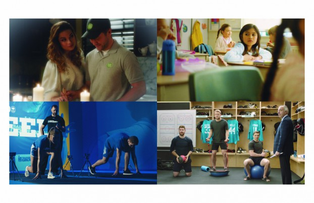 """Clockwise from top left: HelloFresh """"Hungry Hearts,"""" directed by Jesse Senko for Taxi; President's Choice Children's Charity """"Raindrops,"""" directed by Melanie Chung for John St.; Sonnet """"Exercise,"""" directed by Bob Rice for Whitney Creative; """"RBC Training Ground"""" directed by Adam Azimov for RBC"""