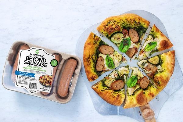 Beyond Sausage Pesto Pizza