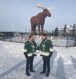 Craft brought Moosehead into the moose wars news cycle, helping to win one for the home team; Moose Jaw mayor Fraser Tolmie cheers with Trevor Grant, Moosehead VP marketing and sales.
