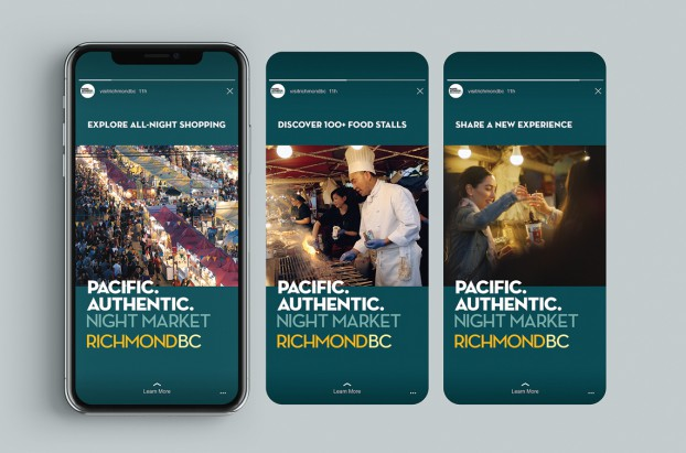 """Tourism Richmond's destination branding campaign """"Pacifc. Authentic."""" brings the coastal city's Pacifc setting and multicultural infuences to life in a vibrant, energetic style."""