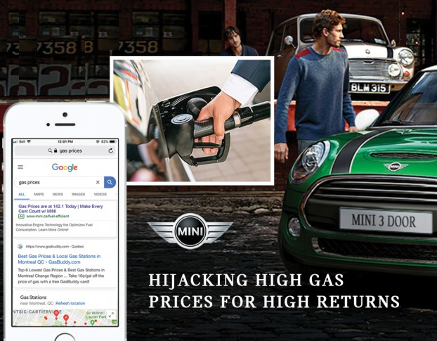 """Gas was on the rise, and so were the number of online searches for up-to-the-minute fluctuating prices. To increase awareness for MINI's fuel efficiency feature, Media Experts highjacked high search demand for """"gas prices,"""" then positioned MINI directly within localized gas price ad copy, all in real-time. The campaign took home six international industry awards."""